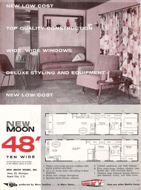 Original 1958 New Moon Mobile Home Rv Trailer Photo Ad