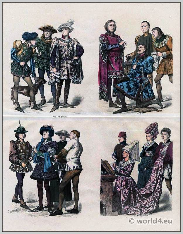 Burgundy Fashion 1450 Gothic Dresses Medieval Costumes Middle Ages Burgundian Clothing