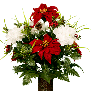 White Hydrangea And Red Poinsettias Md1813 Christmas Flower Arrangements Christmas Floral Arrangements Cemetery Flowers