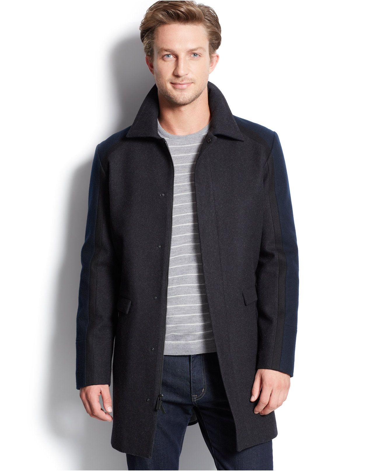 Calvin Klein Colorblocked Three Quarter Slim Fit Coat Coats Jackets Men Macy S Slim Fit Coat Slim Fit Coat [ 1616 x 1320 Pixel ]