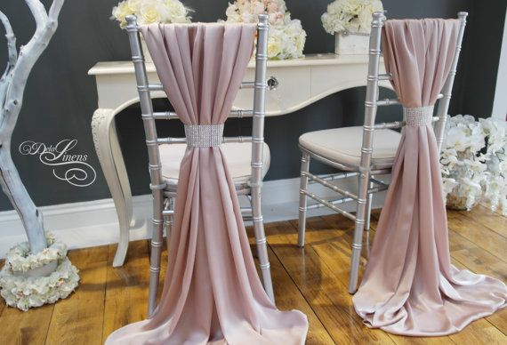 Wedding Chair Cover Sash Silky Satin Blush Pink By Delalinens