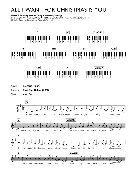 Mariah Carey All I Want For Christmas Is You Sheet Music Notes Chords Score Download Printable Pdf In 2020 Sheet Music Notes Sheet Music Music Notes
