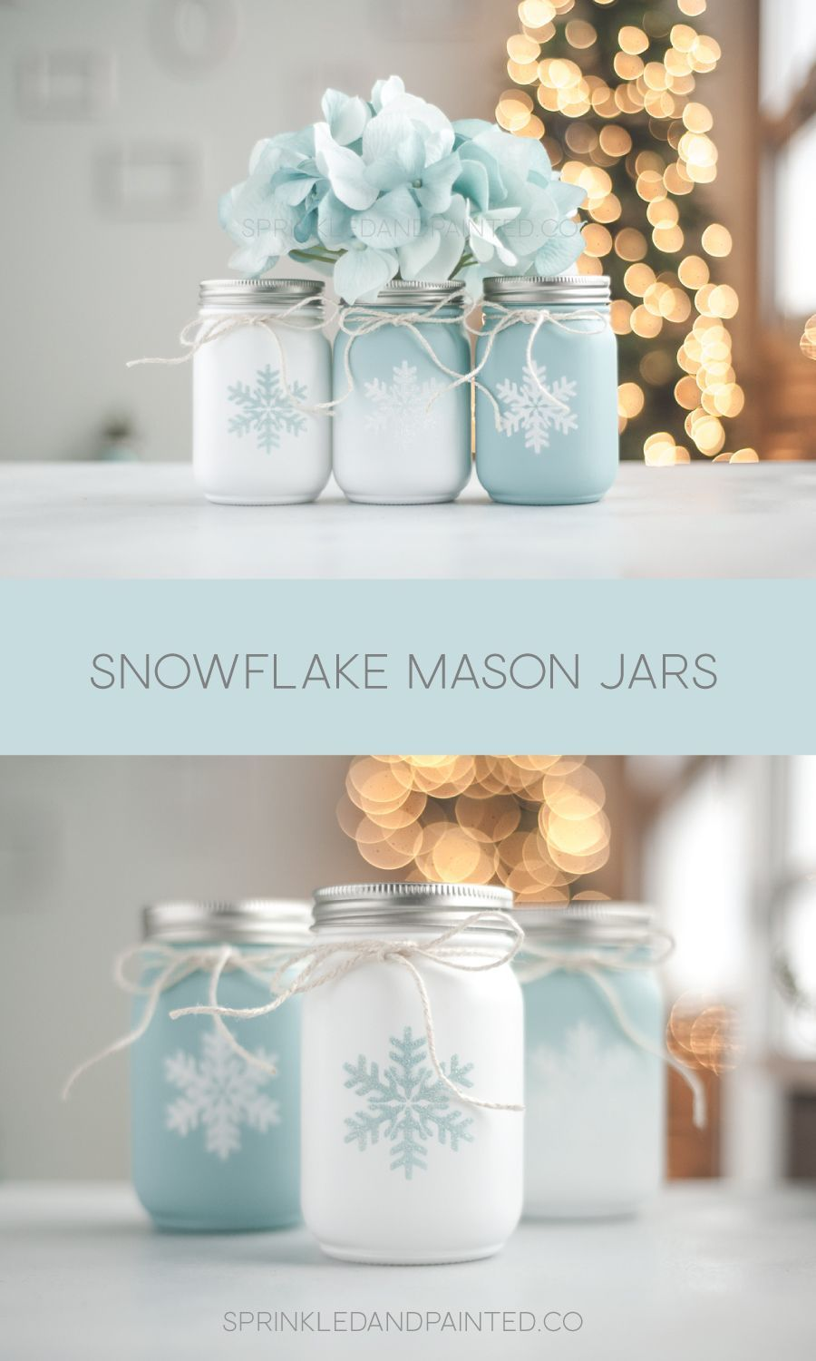 Set of 3 Christmas Holiday Decor Vases, Winter Wedding, Aqua Blue and White Painted Mason Jars Snowflake Decor, Aqua Christmas Decor