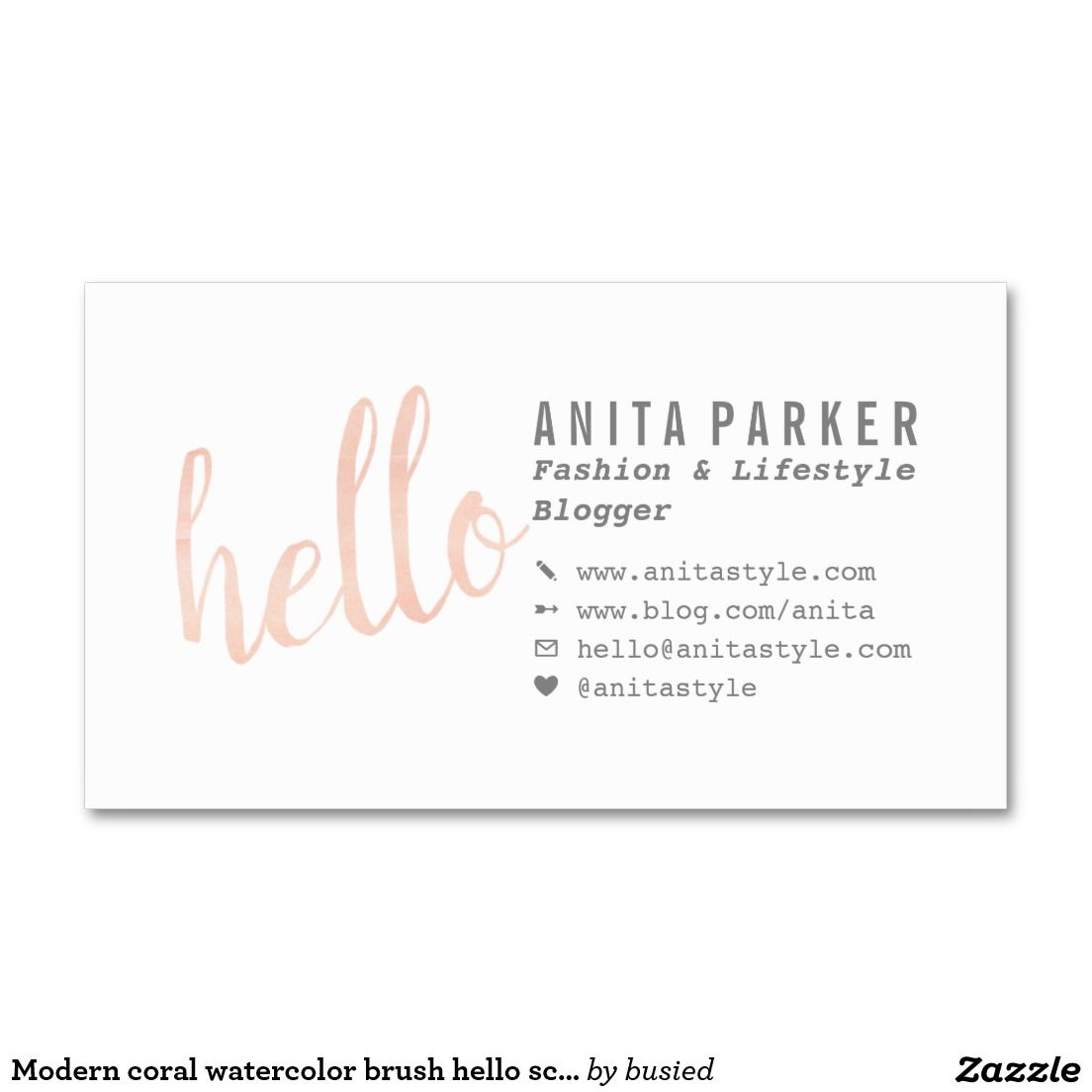 Modern coral watercolor brush hello script blogger business card reheart Image collections