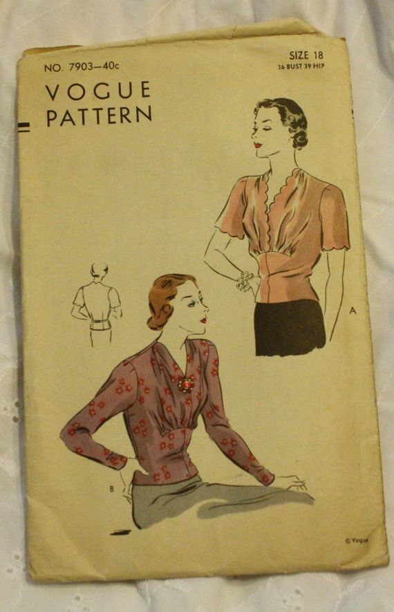 Vogue 7903 Blouse Vintage 1940s 1930s Sewing by EleanorMeriwether, 24.00