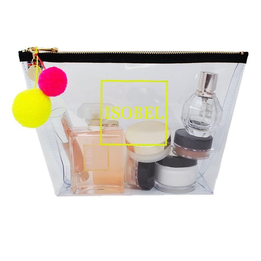 Alicia Große durchsichtige Make-up-Tasche – Neongelb