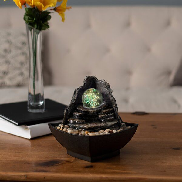 Polystone Glass Ball Rock Tabletop Fountain with Light ...