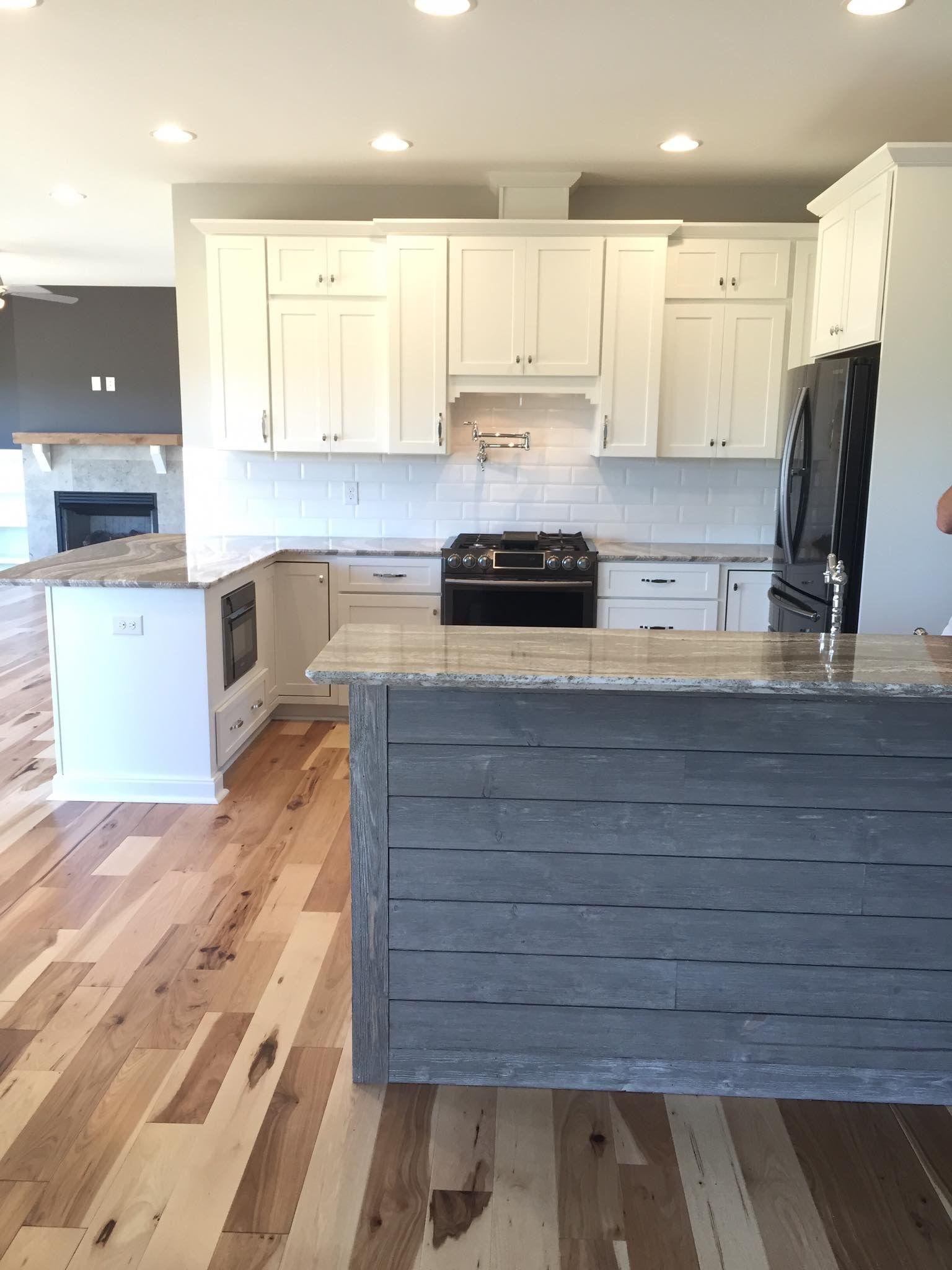 Gray shiplap island | Grey kitchen island, Shiplap kitchen ...
