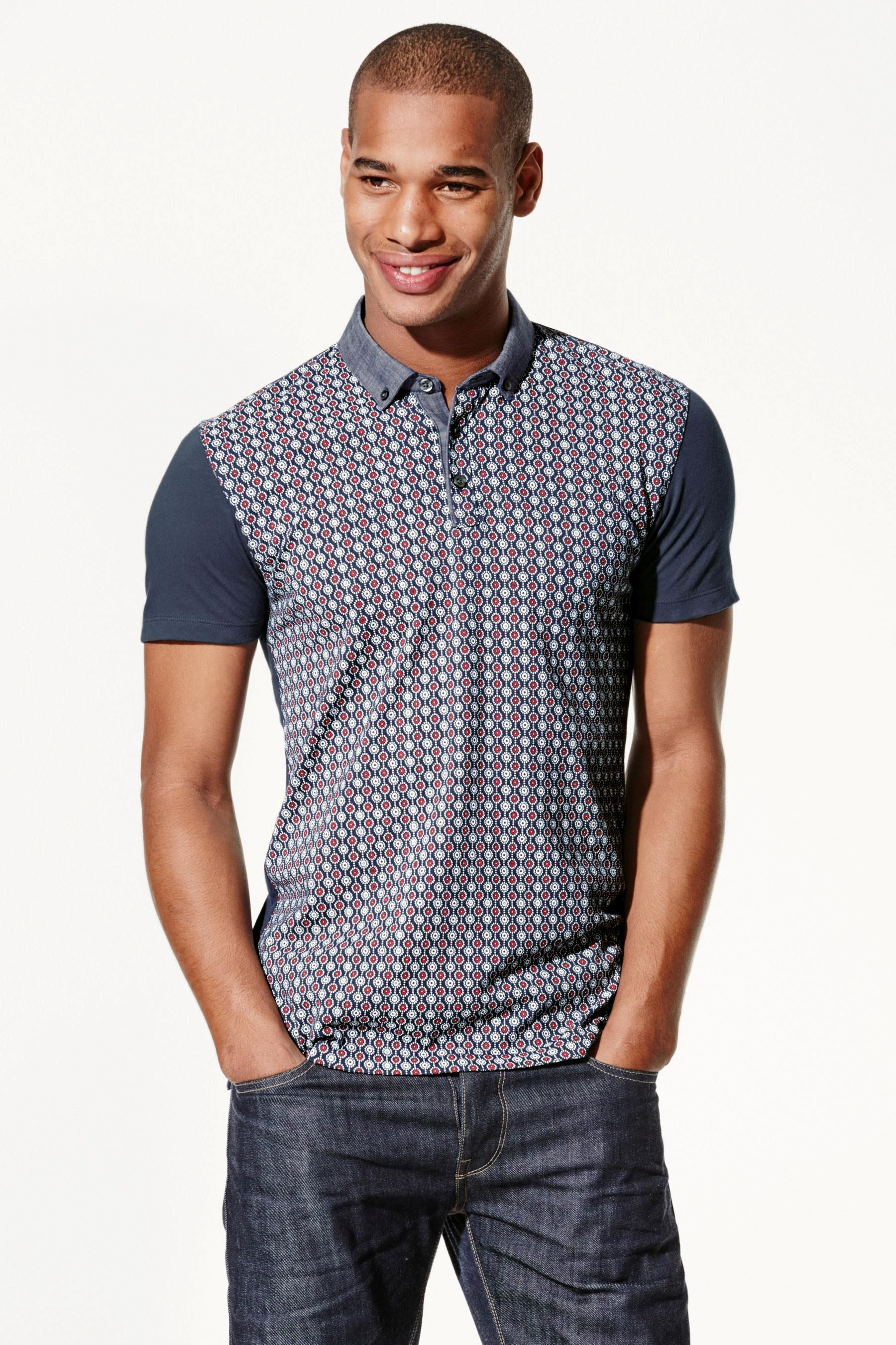 Buy Navy Printed Polo Shirt From The Next Uk Online Shop Bruces