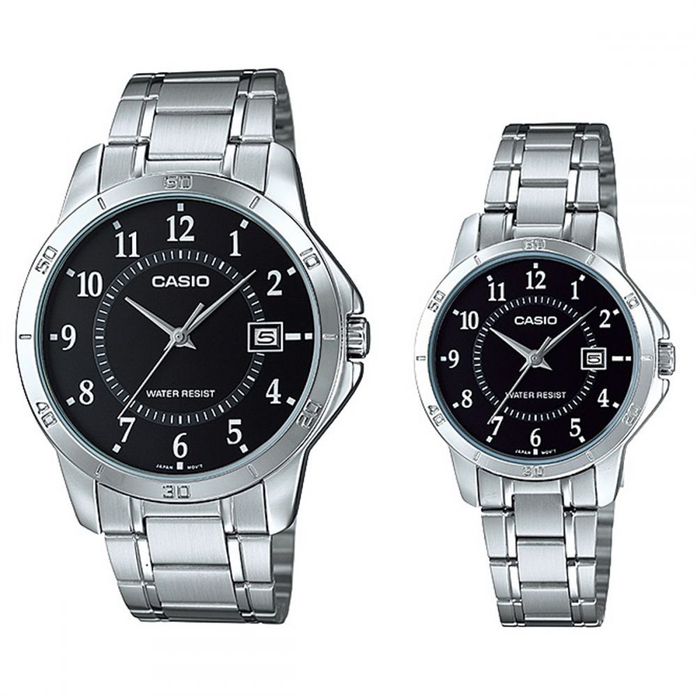 Online Marketing Casio His & Hers Black Dial Stainless