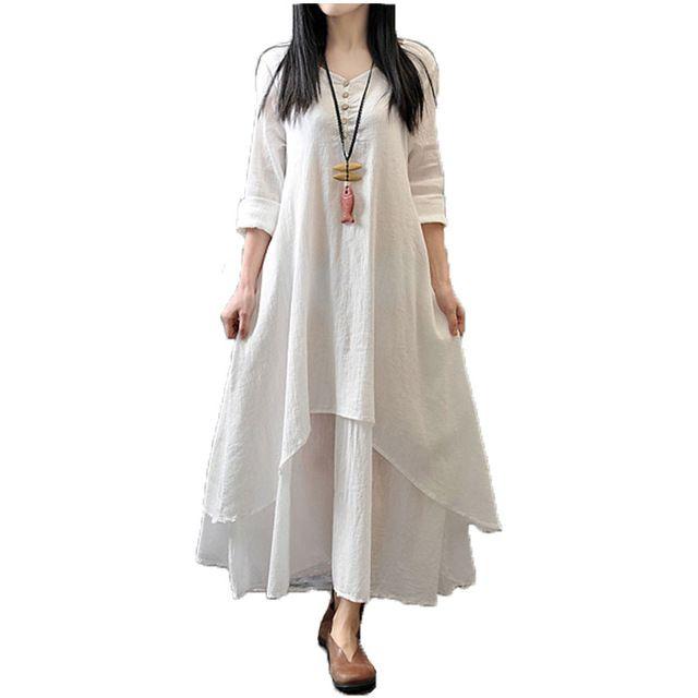 2017 Women Casual Solid Spring Dress Loose Full Sleeve V Neck Button Dress  Cotton Linen Boho · Long Maxi ... 109b8e1a4086