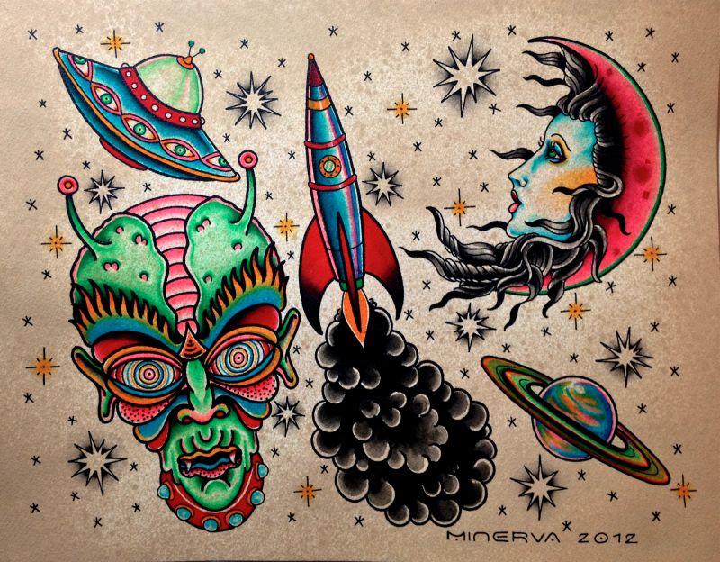 Traditional alien tattoo flash google search tattoo for Traditional tattoo flash