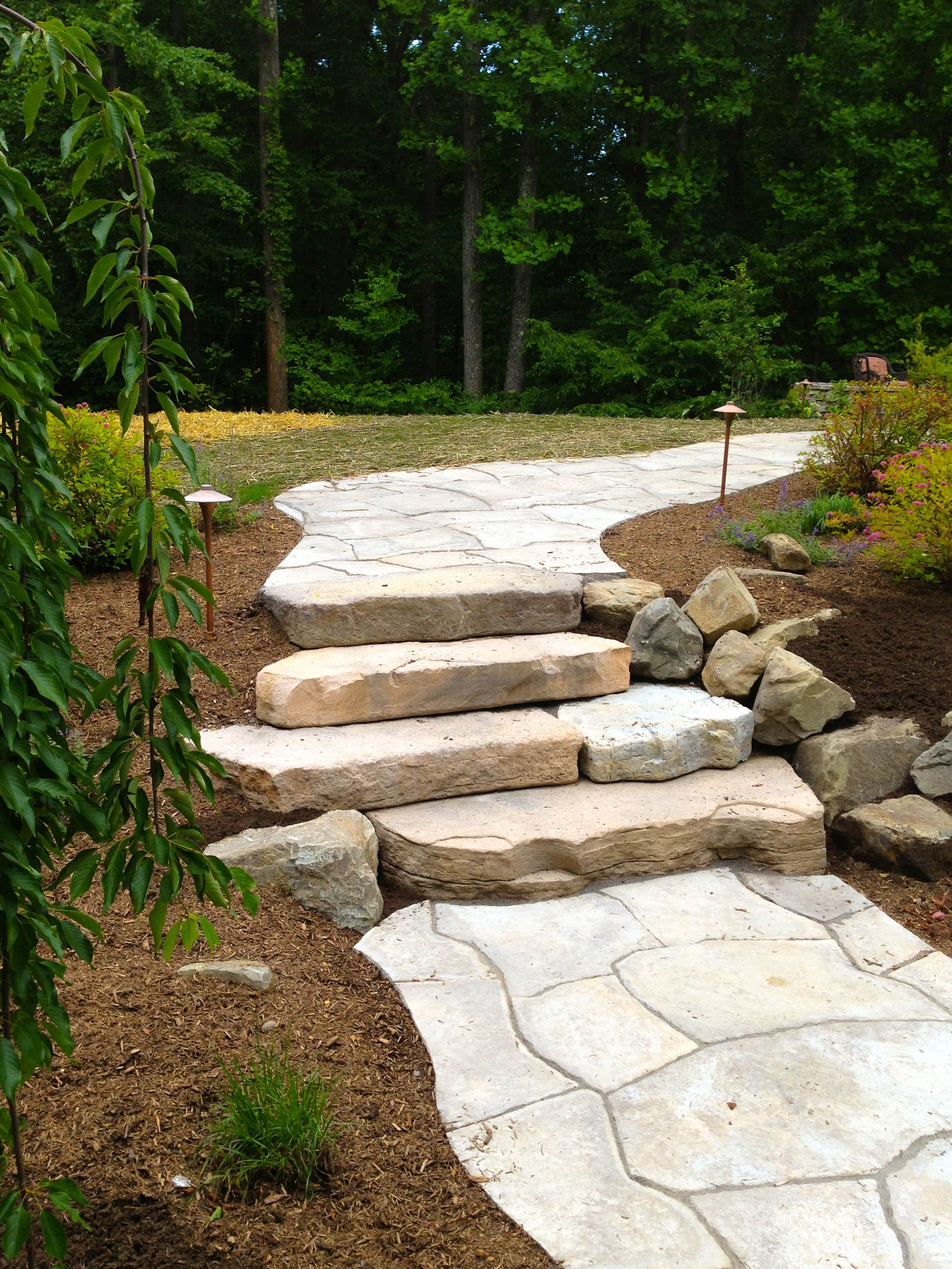 Rosetta Outcropping Concrete Steps With Grand Flagstone Walkway Highland Ny Love The Natural Stone Stone Landscaping Shade Garden Plants Flagstone Walkway