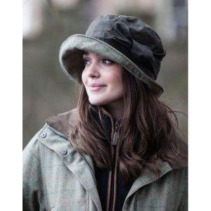 Ladies Hat Cloche Wax Cotton Winter Waterproof Tweed Rose Peak and Brim
