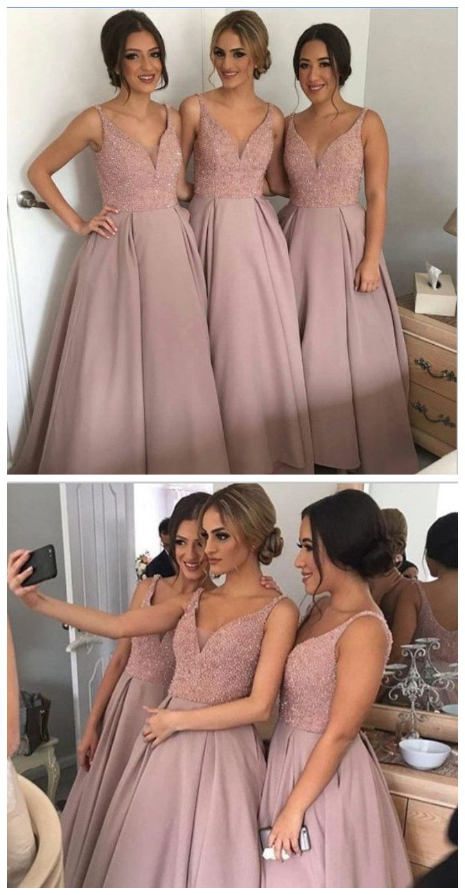 4d5ace07be4a Long A-line Bridesmaid Dress, Dusty Rose Bridesmaid Dress,beaded Top ...