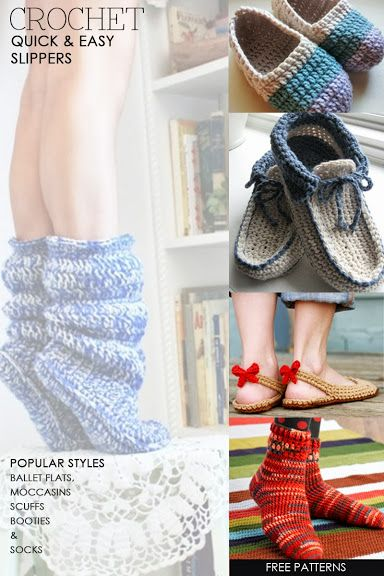 Popular free crochet slipper patterns | make great gifts | how to make your slippers skidproof and how add a felt sole