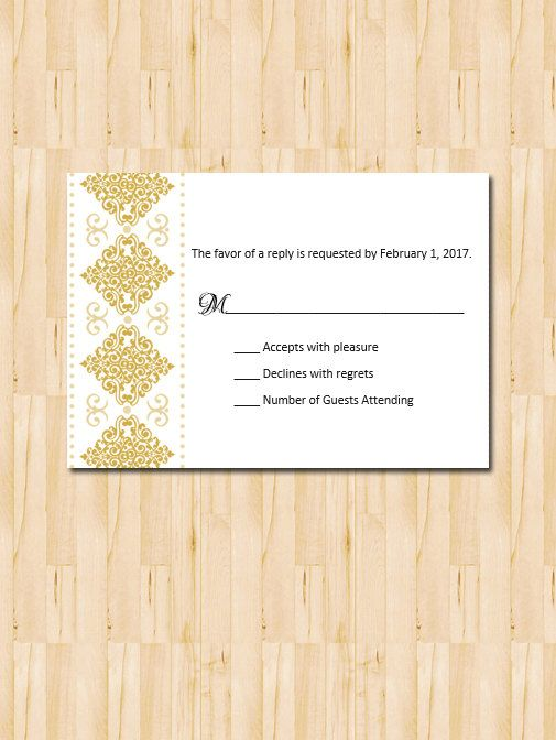 Gold Diamond Printable Reply Card\/DIY Bride\/Modern\/Arabic\/Islamic - how to make invitations with microsoft word