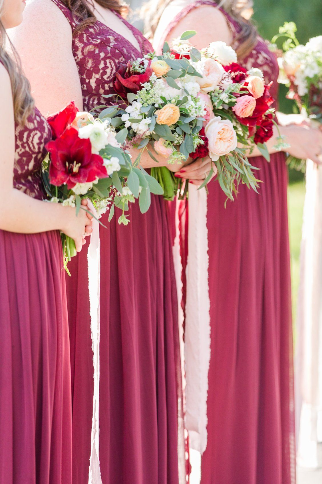 Lace Tank Burgundy Bridesmaid Dress from David\'s Bridal | Angie ...