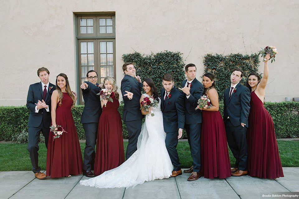 Long beach burgundy wedding at the ebell of long beach