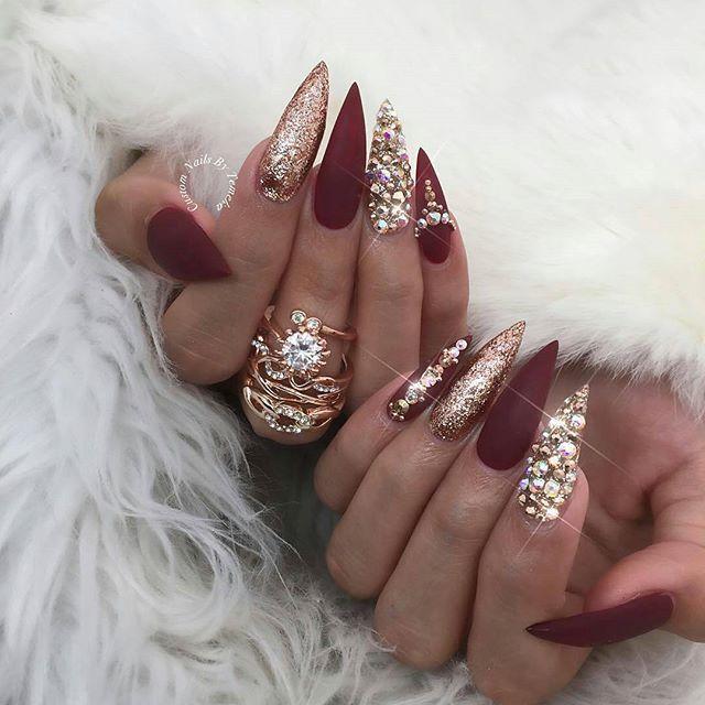 Christmas Nail Art Inspiration Nail Art Ideas For Winter Burgundy Nails Gold Nails Stiletto Nails