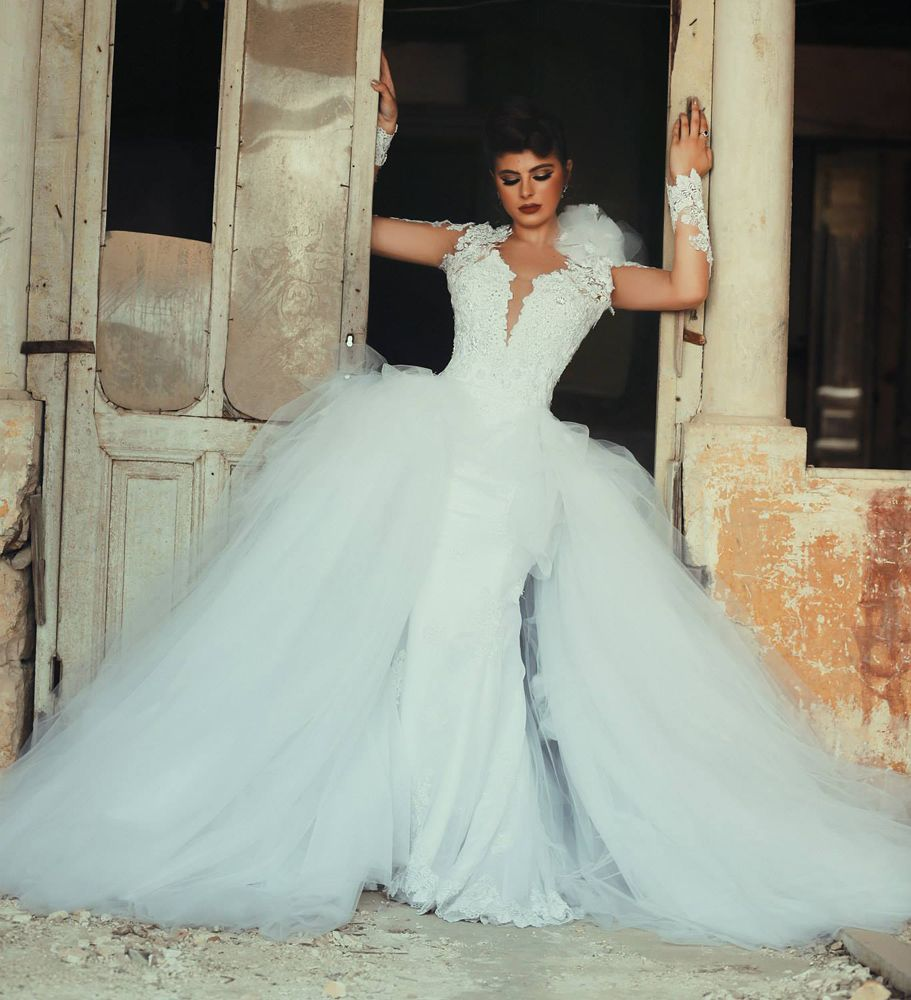 Wedding Dress, Detachable Train Wedding Dress, Open Back | Wedding ...