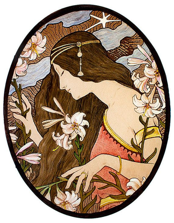 kilnfired glass painting this beautiful art nouveau