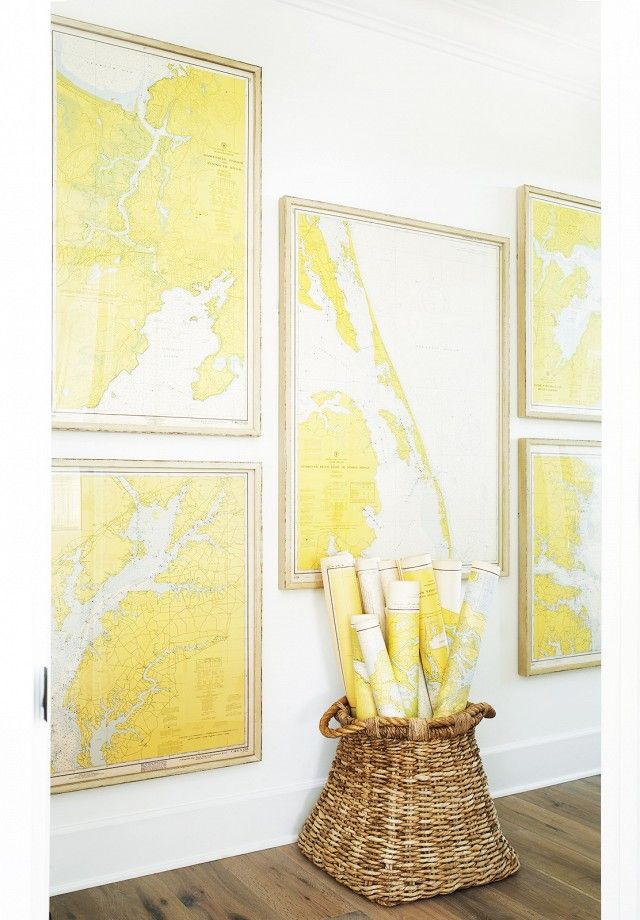 Gallery wall of nautical maps. Home Tour: Inside an Awesome Coastal California Home via @domainehome