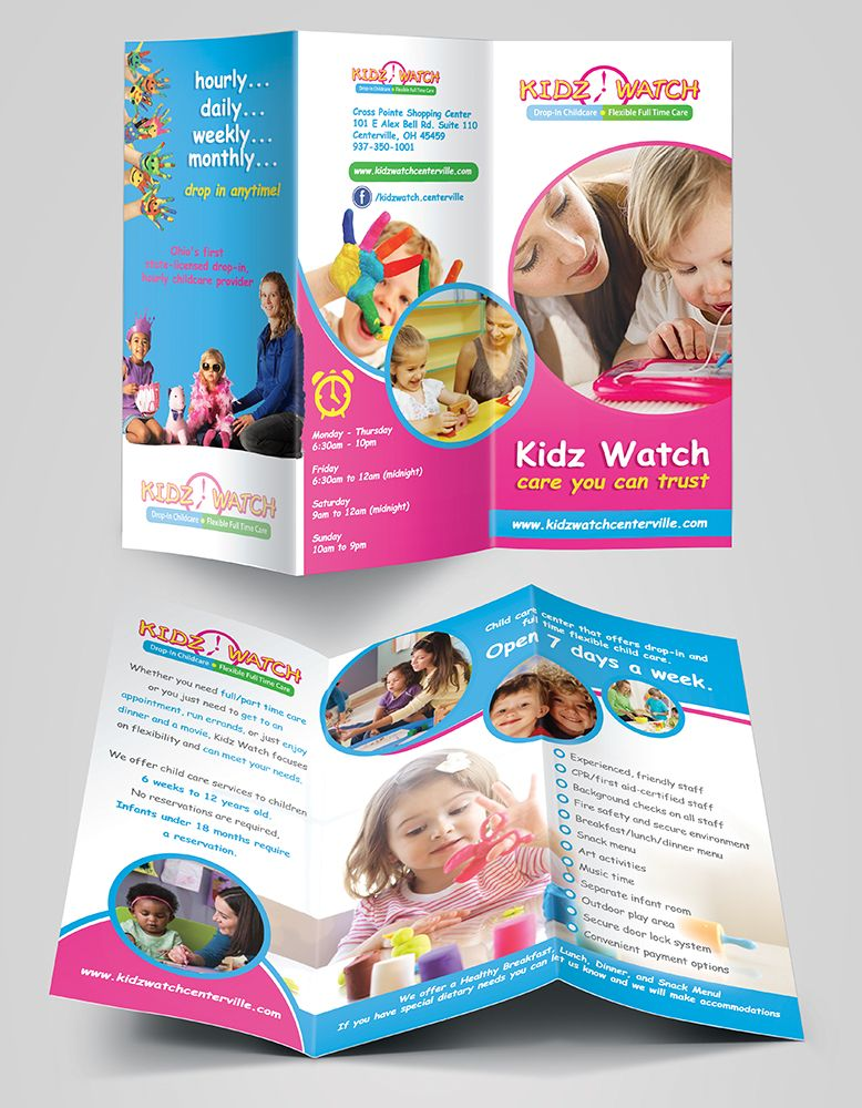 Preschool Flyers Design  Funny Kids Brochure Template