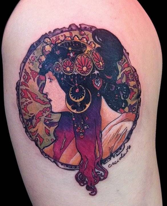 Alfons Mucha Inspired Art Nouveau Style Tattoo On The Upper Arm Tattoo Artist Adrian Bascur Art Nouveau Tattoo Nouveau Tattoo Art Deco Tattoo