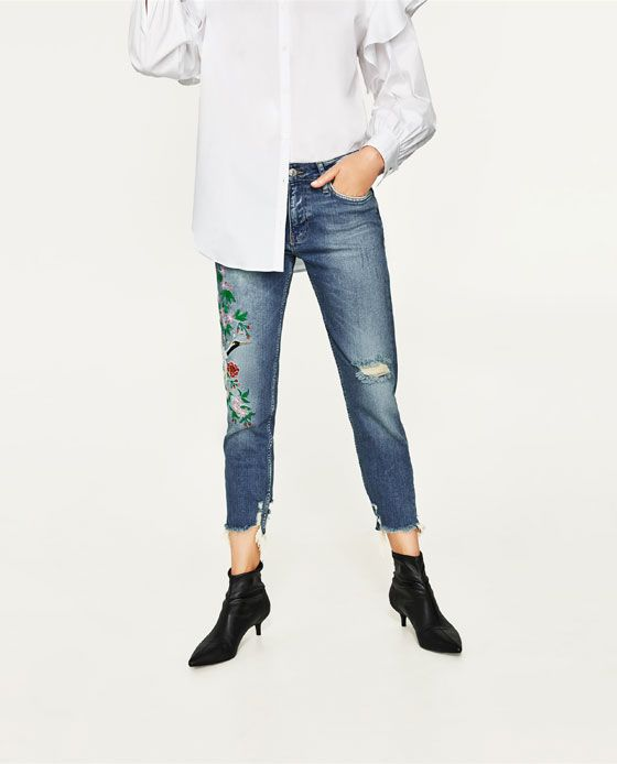 boyfriend jeans with embroidery zara ss trends 2017. Black Bedroom Furniture Sets. Home Design Ideas