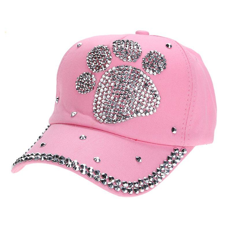 bb9c7c7d831 Women Baseball Cap Lady Plum Blossom Paw Print Diamond Snapback Hip Hop  Flat Hat Adjustable 1