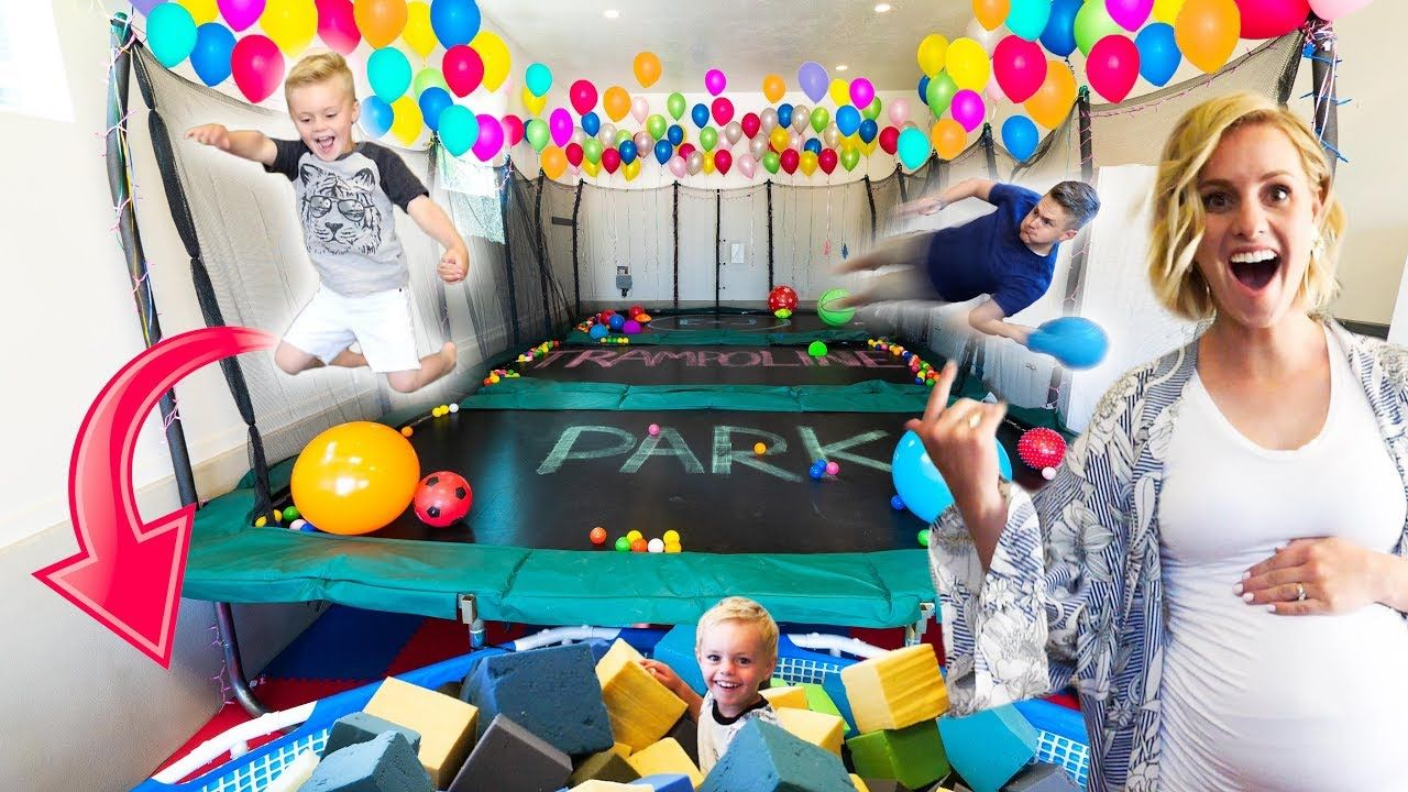 We Built A Real Life Trampoline Park In Our House Youtube Trampoline Baby Gif