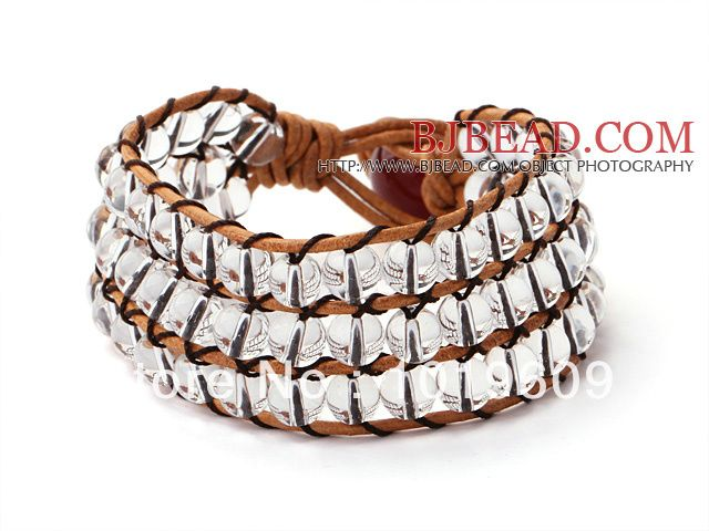 Aliexpress.com : Buy Free Shipping New design clear  multi layer crystal wrap bracelet with brown leather thread from Reliable Charm Bracele...