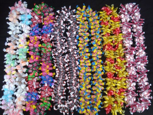 Multiple Candy Leis. You can buy them online but they are very easy to make.