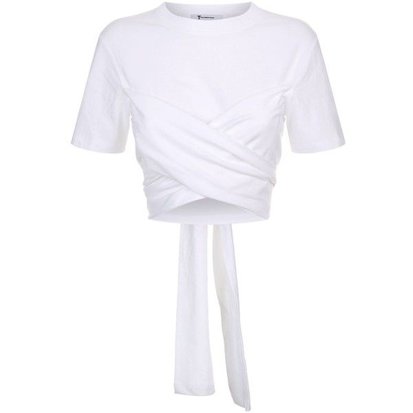 c6d1ab234a827 T By Alexander Wang Twist Front Drape Cropped T-Shirt (25435 ALL ...
