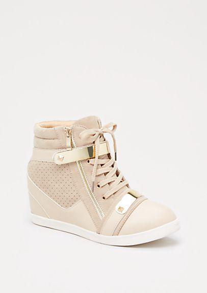 cae4d0d96f57 Nude Metallic Studded Wedge Sneaker by Liliana
