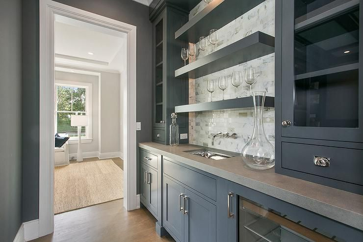 Best Gray Butler S Pantry Is Fitted With Gray Cabinets Accented 400 x 300