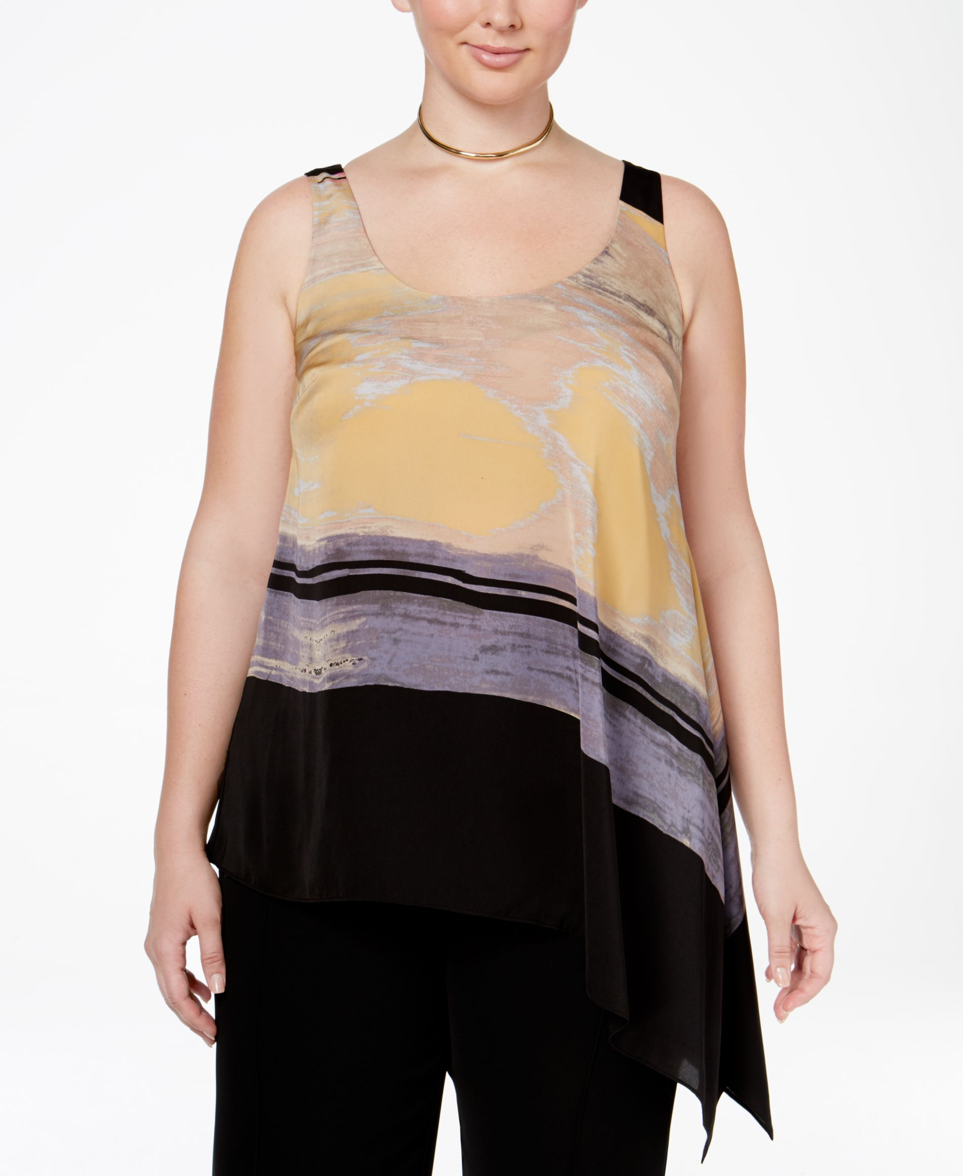3328e185a1a Rachel Rachel Roy Curvy Plus Size Asymmetrical Printed Tank Top ...