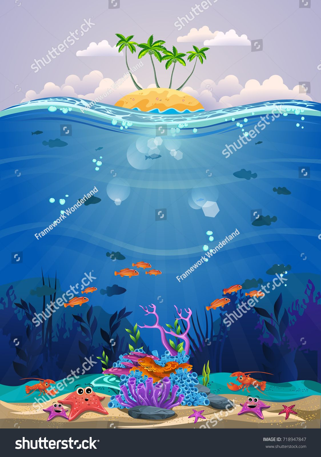 Beautiful Marine Life With Coral Reef And Sea Fish There Is A Beautiful Little Island Ocean underwater life fish corals algae