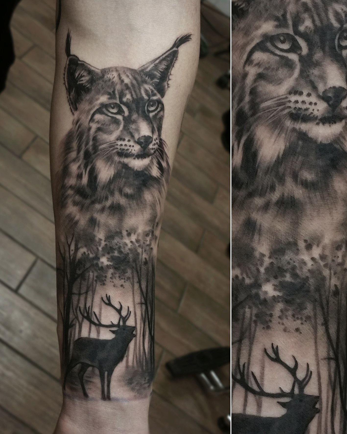 Black And Gray Full Sleeve In Progress Artist Janis Svars Lynx Lynxtattoo Tattoo Deer Animal Animaltatto Animal Tattoos Tattoos For Guys Wildlife Tattoo