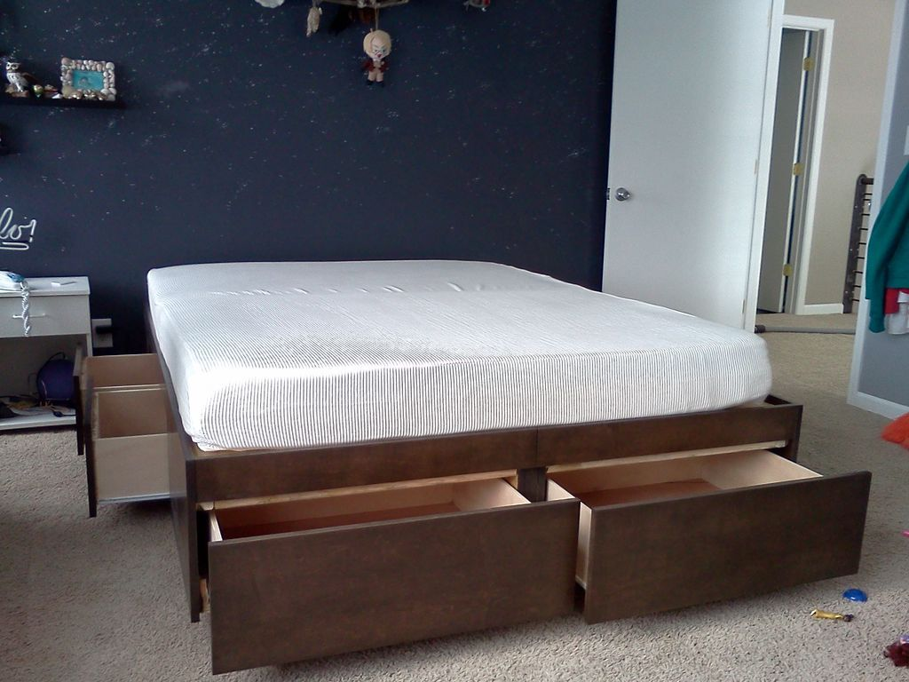 Be bed frames with headboard storage - Platform Bed With Drawers