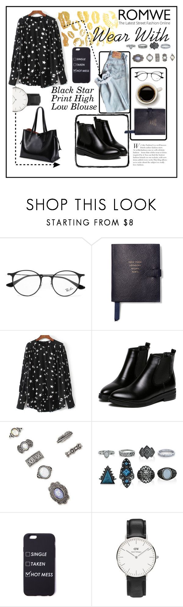 """Black  Star Shirt"" by dchatzin ❤ liked on Polyvore featuring Ray-Ban, Smythson, WithChic, Forever 21, New Look, Daniel Wellington and blackonly"