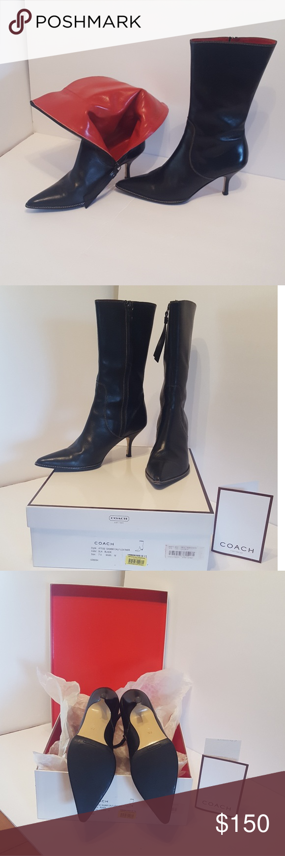 e00f35981cd24 Vintage Coach Sammi Black Leather Boots 7.5 B $350 A7032 SAMMI CALF ...