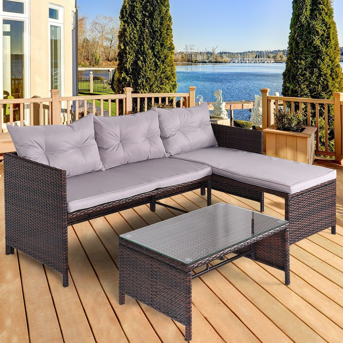 3 Pcs Rattan Wicker Deck Couch Outdoor Patio Sofa Set Furniture