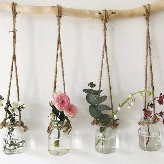 Photo of Hanging jam jars  allison  dinky  filling  flowers  flowers garden  flowers gift…