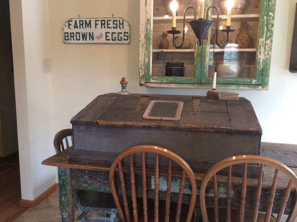Huge Antique Primitive Table Top Desk Lift Up Lid Primitive Tables Table Top Primitive