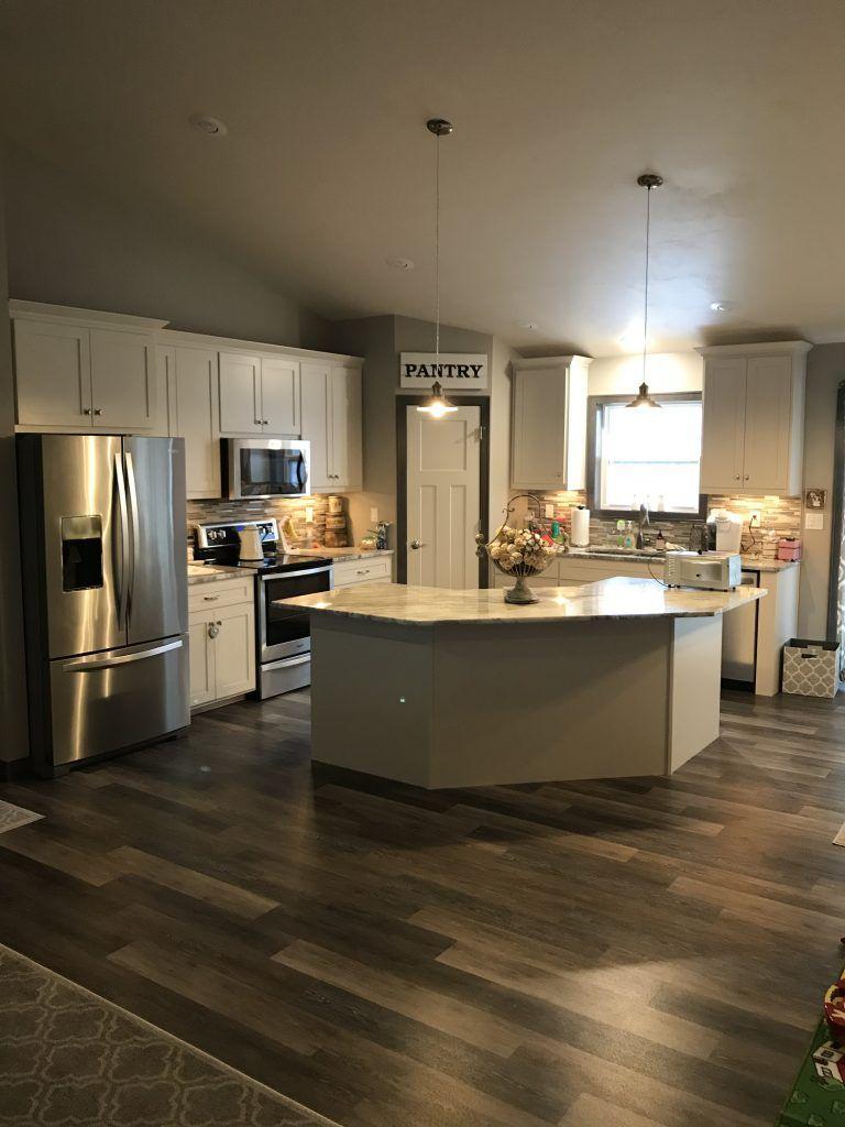 Oak Luxury Vinyl Plank Kitchen Floor Gray And Beige Glass Tile Kitchen Backsplash Trendy Kitchen Tile Diy Kitchen Remodel Vinyl Flooring Kitchen