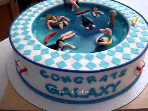 Swimming Pool Cake Youtube Ned 39 S Party Cake Ideas Pinterest Pool Cake Cake And Girl Cakes