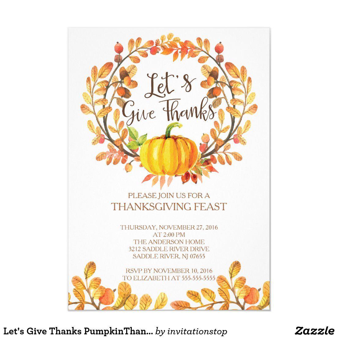 Let S Give Thanks Pumpkinthanksgiving Dinner Invitation Zazzle Com In 2020 Pumpkin Baby Shower Invitation Dinner Invitations Give Thanks