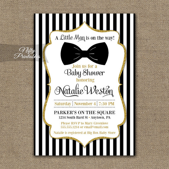 Bow Tie Baby Shower Invitations Printable Black Gold Invites Boy Bowtie Invitation And White Stripe Bgl
